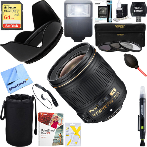 Nikon AF-S NIKKOR 28mm f/1.8G Lens 2203 + 64GB Ultimate Kit