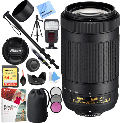 Nikon AF-P DX NIKKOR 70-300mm f/4.5-6.3G ED VR Lens with 64GB Bundle