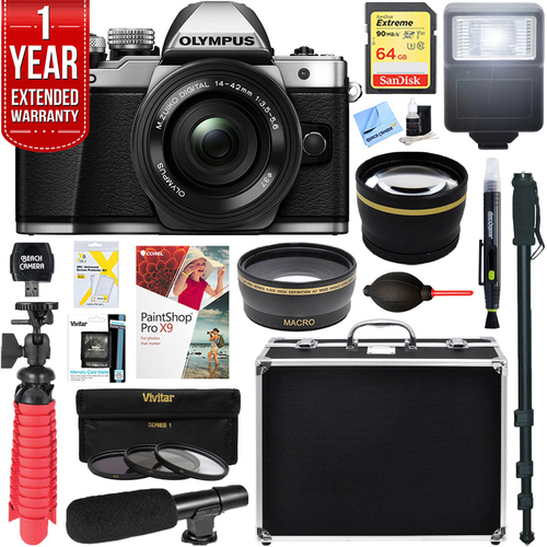 Olympus OM-D E-M10 Mark II Mirrorless Digital Camera (Silver) + 14-42mm EZ Lens Bundle