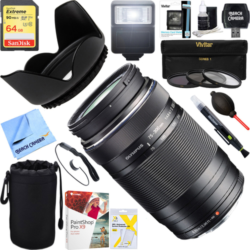 Olympus MSC ED-M 75-300mm II f4.8-6.7 Zoom Lens + 64GB Ultimate Kit