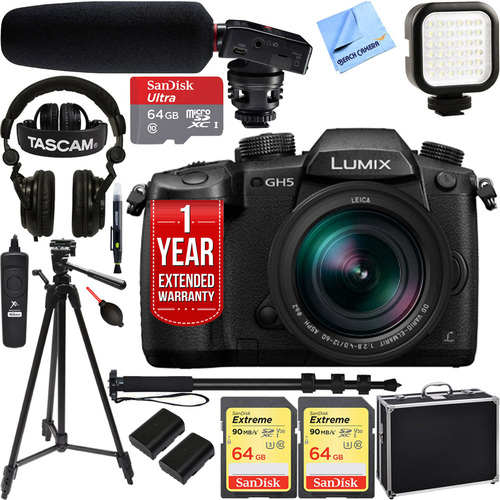 Panasonic LUMIX GH5 4K Mirrorless Digital Camera w/ 12-60mm Lens + Tascam Pro Video Bundle
