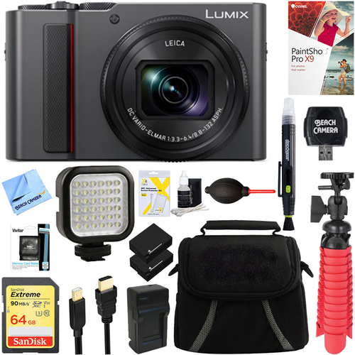 Panasonic LUMIX Digital Camera ZS200, 24-360mm Lens Silver+64GB Dual Battery Deluxe Bundle