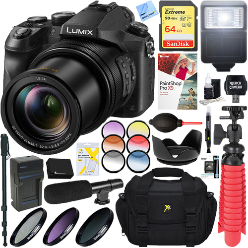 Panasonic LUMIX DMC-FZ2500 20.1 MP Digital Camera + 64GB Dual Battery Accessory Bundle
