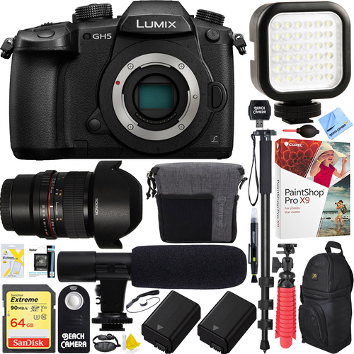 Panasonic LUMIX GH5 4K Mirrorless Digital Camera Body + 14mm f/2.8 Lens Bundle