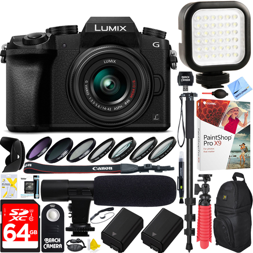 Panasonic LUMIX G7 Camera+ 14-42mm Lens+ 64G Dual Battery & Mic Pro Video Bundle