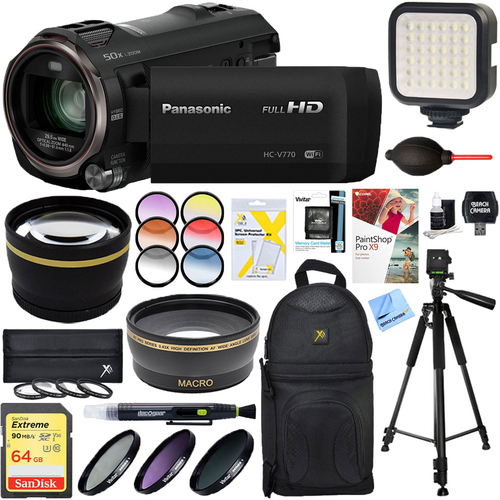 Panasonic HC-V770K HD Camcorder with 64GB Memory Card & Deluxe Filter Accessory Bundle