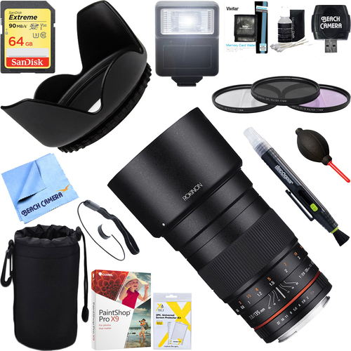 Rokinon 135mm F2.0 ED UMC Telephoto Lens for Nikon w/ Chip + 64GB Ultimate Kit