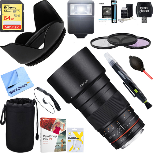 Rokinon 135mm F2.0 ED UMC Telephoto Lens for Canon DSLR + 64GB Ultimate Kit
