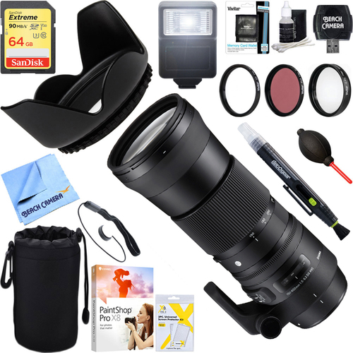 Sigma 150-600mm F5-6.3 DG OS HSM Zoom Lens for Sigma Cameras + 64GB Ultimate Kit