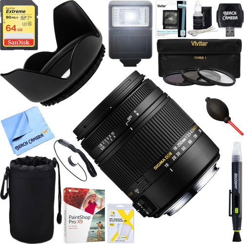 Sigma 18-250mm F3.5-6.3 DC OS HSM Macro Lens for Nikon AF + 64GB Ultimate Kit