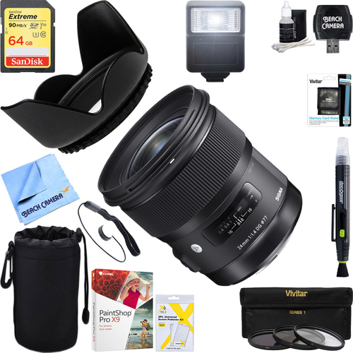 Sigma 24mm f/1.4 DG HSM Wide Angle Lens Art for Sony E Mount + 64GB Ultimate Kit