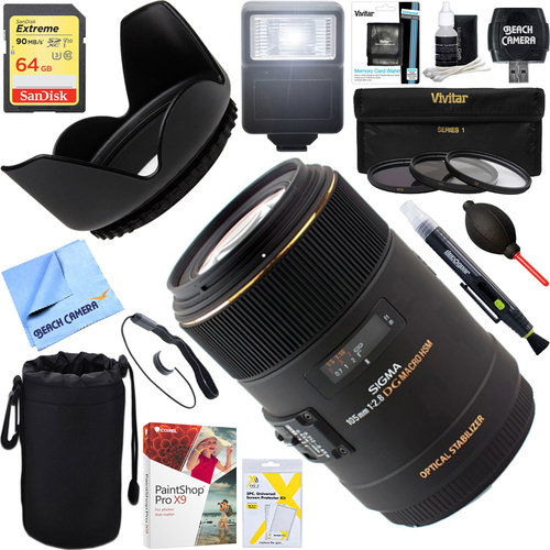 Sigma 105mm F2.8 EX DG OS HSM Macro Lens for Sony DSLRs + 64GB Ultimate Kit