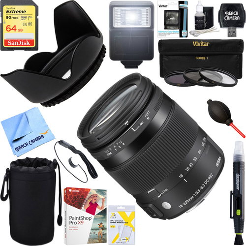 Sigma 18-200mm F3.5-6.3 DC Macro OS HSM Lens for Canon EOS + 64GB Ultimate Kit
