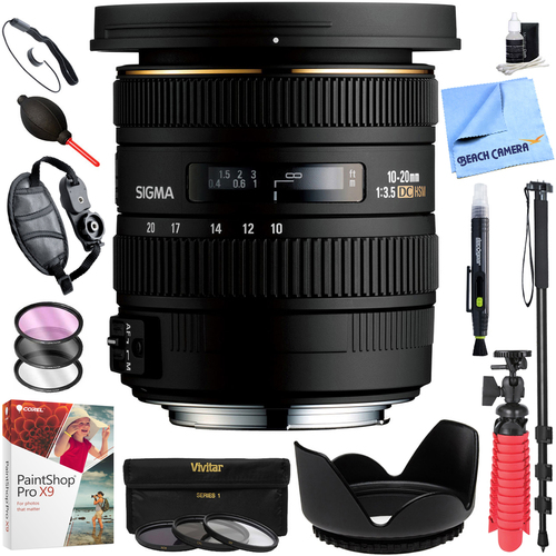 Sigma 10-20mm f/3.5 EX DC HSM Wide Angle Lens for Canon EOS Cameras Kit Deluxe Bundle