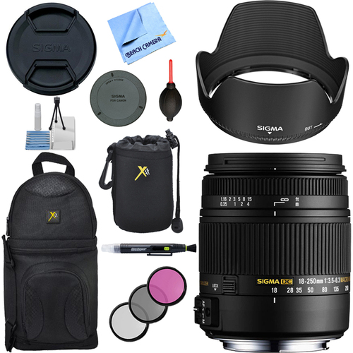 Sigma 18-250mm F3.5-6.3 DC OS HSM Macro Lens for Canon EF Cameras with Accessories Kit