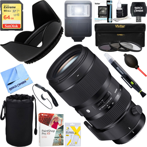 Sigma 50-100mm f/1.8 DC HSM Lens for Canon Mount + 64GB Ultimate Kit