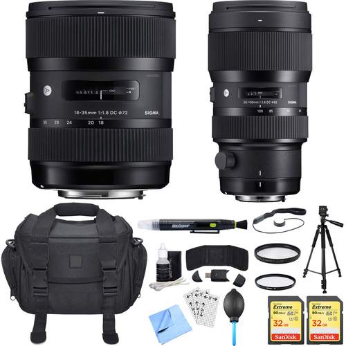 Sigma AF 18-35mm f/1.8 DC HSM + 50-100mm f/1.8 DC HSM Lens for Canon Ultimate Bundle