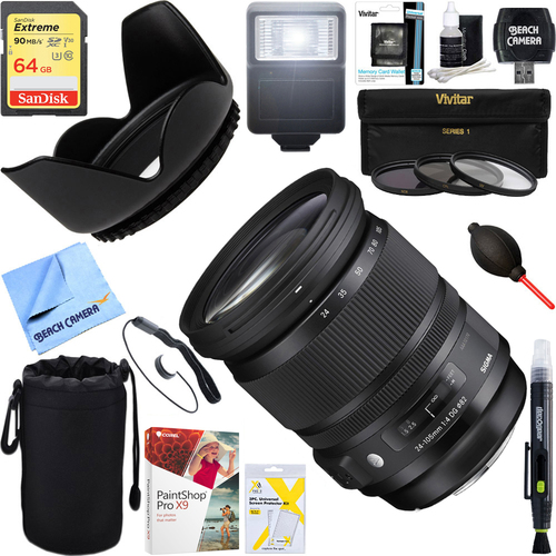 Sigma 24-105mm F/4 DG HSM A-Mount ART Lens for Sony SLR + 64GB Ultimate Kit