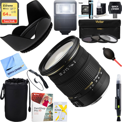 Sigma 17-50mm f/2.8 EX DC OS HSM FLD Zoom Lens For Nikon + 64GB Ultimate Kit