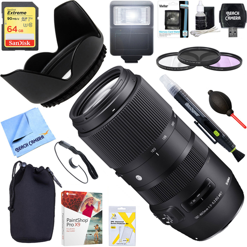 Sigma 100-400mm F5-6.3 DG OS HSM Telephoto Lens Canon + 64GB Ultimate Kit