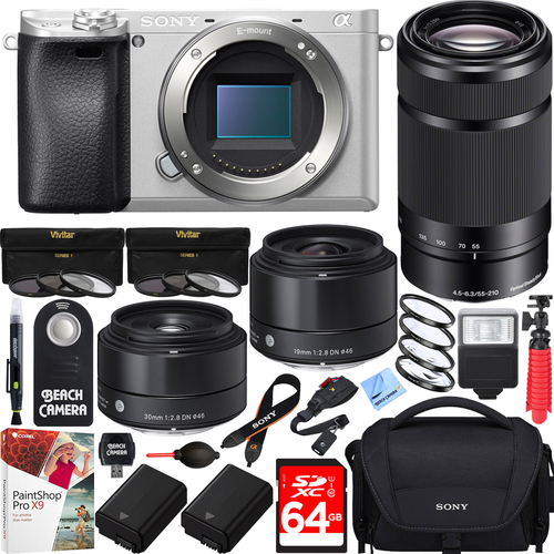 Sony a6300 4K Mirrorless Camera w/ 55-210mm & Sigma 19mm & 30mm Prime Art Lens Bundle