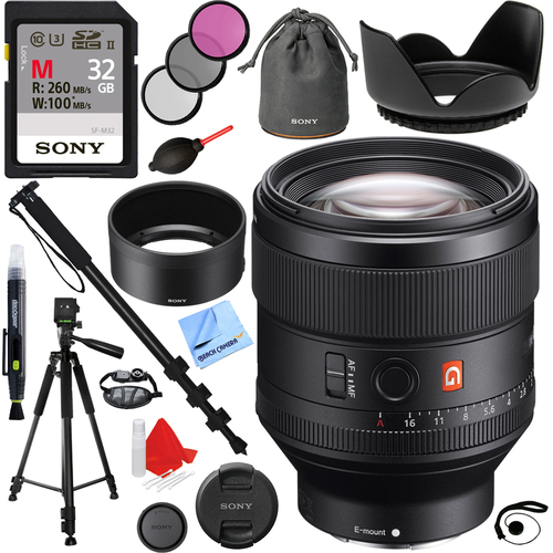 Sony FE 85mm F1.4 GM Full Frame E-Mount Lens with 32GB Accessories Kit