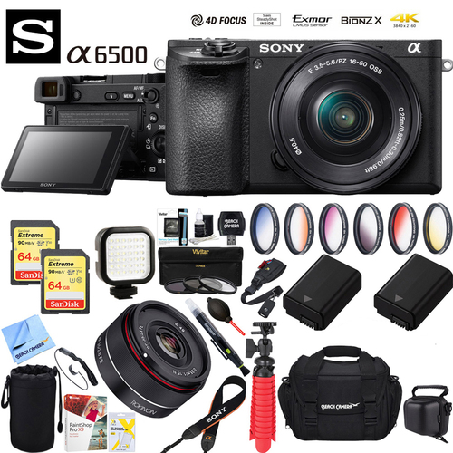 Sony a6500 Mirrorless Camera w/ 16-50mm + Rokinon 35mm Wide Angle Lens Bundle