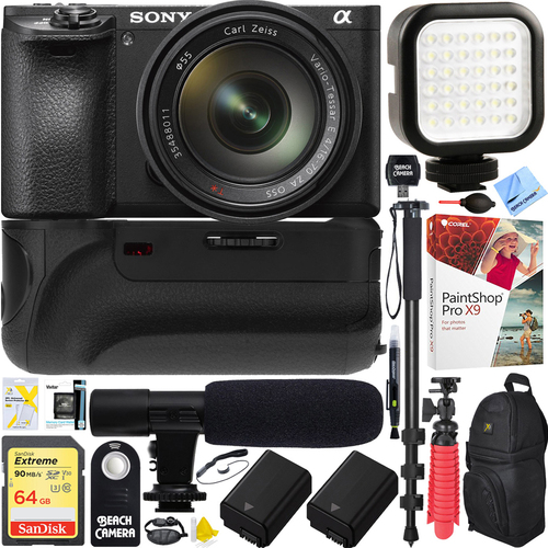 Sony a6500 4K Mirrorless Camera+16-70mm f/4 Lens Battery Grip & Mic Pro Video Bundle
