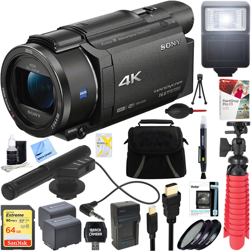 Sony FDR-AX53/B 4K Handycam Camcorder with Mini Zoom Microphone + 64GB Bundle