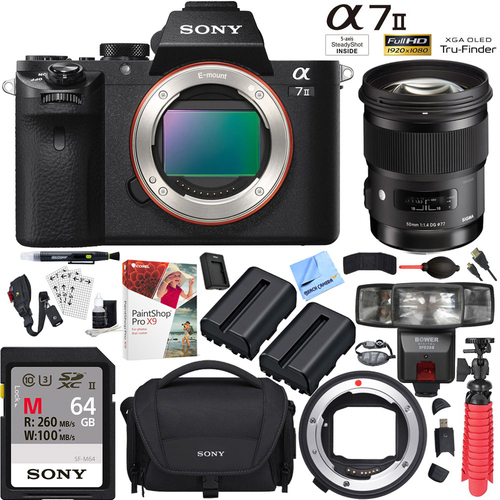 Sony Alpha a7II Mirrorless Camera with Sigma 50mm ART Lens and Mount Converter Kit