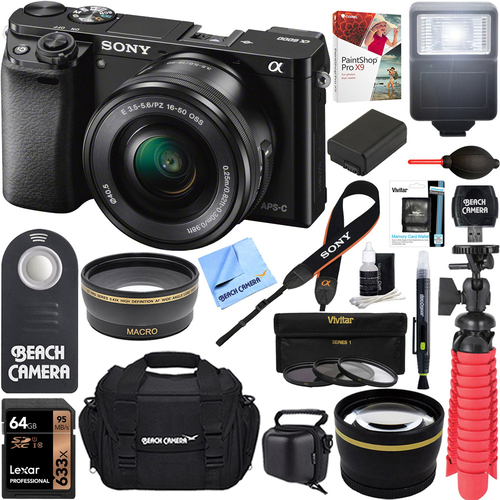Sony Alpha a6000 24.3MP Mirrorless Camera 16-50mm Power Zoom Lens 64GB Accessory Kit