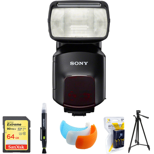 Sony External Flash/Video Light HVL-F60M with 64GB Memory Card Bundle