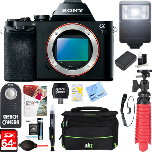 Sony a7 Full-Frame Interchangeable Lens Digital Camera Body + 64GB Memory & Flash Kit