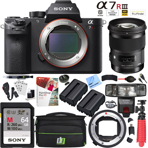Sony a7R III Mirrorless 42.4MP Camera with Sigma 50mm Lens + Mount Converter Kit
