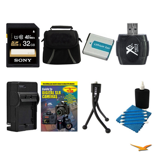 General Brand 32GB SDHC/SDXC Card, Case, Battery, Card Reader, Battery Charger, and More