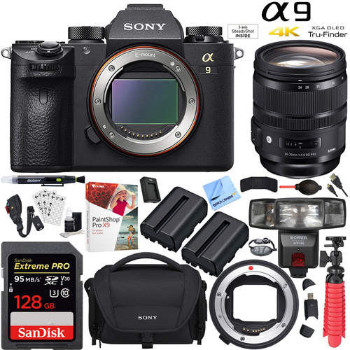 Sony Alpha a9 Mirrorless Camera with Sigma 24-70mm Lens and Mount Converter Kit