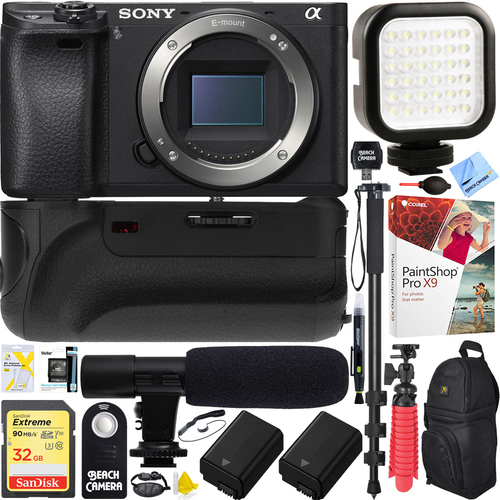 Sony a6500 4K Mirrorless Camera Body (ILCE-6500/B Battery Grip & Mic Pro Video Bundle