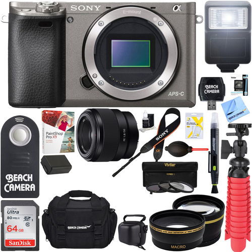 Sony Alpha a6000 24.3MP Grey Mirrorless Camera with 50mm Lens + 64GB Accessory Bundle