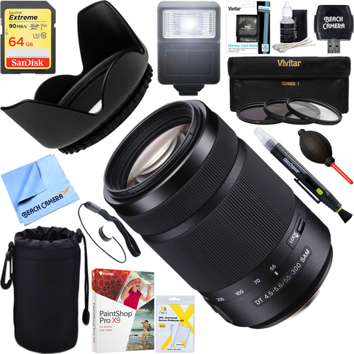 Sony 55-300mm DT f/4.5-5.6 SAM Telephoto Zoom A-Mount Lens + 64GB Ultimate Kit