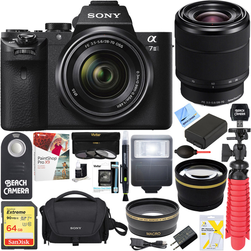 Sony Alpha 7II Mirrorless Camera with 28-70mm F3.5-5.6 OSS Lens + 64GB Battery Bundle