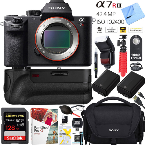 Sony a7R III 42.4MP Mirrorless Camera Body(ILCE7RM3/B)+64GB Grip Super Bundle