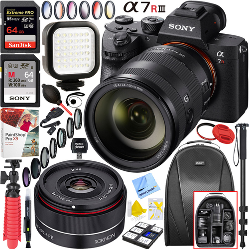 Sony a7R III Mirrorless (ILCERM3/B)+24-105mm+Rokinon 35mm+128GB Dual Lens Bundle