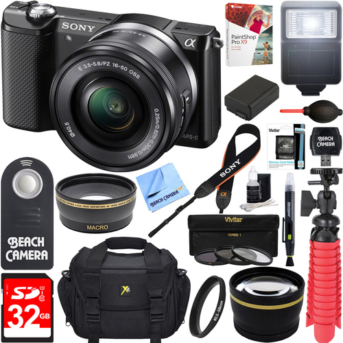 Sony Alpha a5000 Mirrorless 20.1MP Camera 16-50mm Lens + 32GB Accessory Bundle