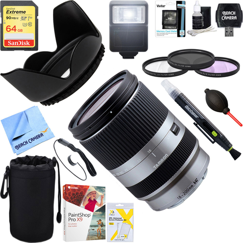Tamron 18-200mm Di III VC Silver Sony Mirrorless SLR Cameras + 64GB Ultimate Kit