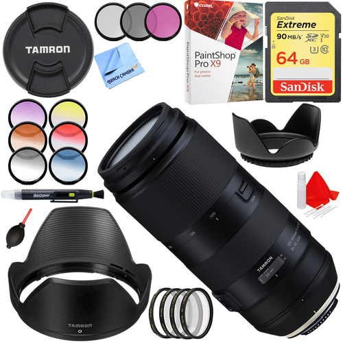 Tamron 100-400mm F/4.5-6.3 Di VC USD Zoom Lens for Nikon AFA035N-700 + 64GB Bundle