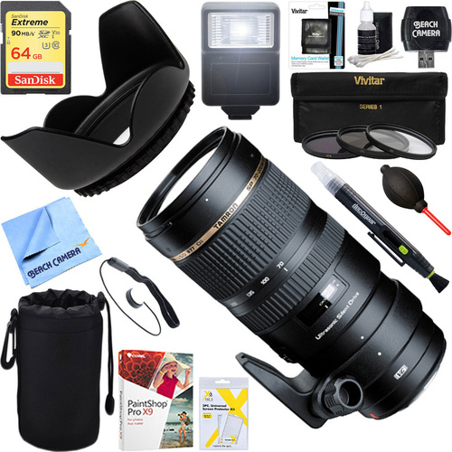 Tamron SP 70-200mm F/2.8 DI USD Telephoto Zoom Lens for Canon + 64GB Ultimate Kit