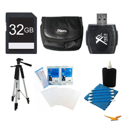 General Brand 32GB SD Card, Case, Card Reader, Tripod, Screen Protectors, and Cleaning Kit