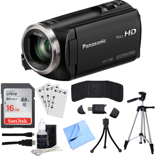 Panasonic HC-V180K Full HD Camcorder with 50x Stabilized Optical Zoom w/ 16GB SDHC Bundle