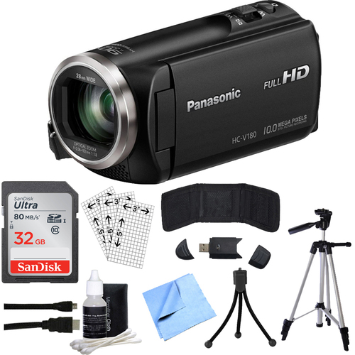 Panasonic HC-V180K Full HD Camcorder with 50x Stabilized Optical Zoom w/ 32GB SDHC Bundle