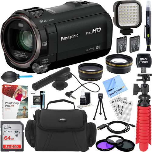 Panasonic HC-V770K HD Camcorder with Mini Zoom Microphone + 64GB Accessory Bundle